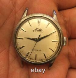 Vintage Mido Multifort Powerwind Automatic Steel Watch31mm Not Working For Parts