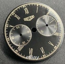 Vintage NOS Heuer Silver Gilt Dial Valjoux 69
