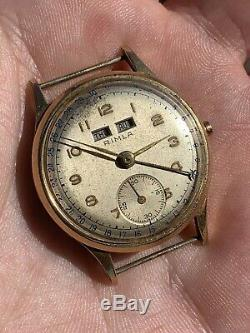 Vintage Rimla Gold Plated Triple Date Mens Watch Swiss FOR PARTS/REPAIR 30,6mm