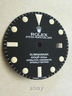 Vintage Rolex #16800 Submariner Matte Black Repaired Dial