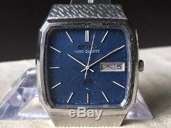 Vintage SEIKO Quartz Watch/ KING TWIN QUARTZ 9723-5010 SS 1979 For Parts