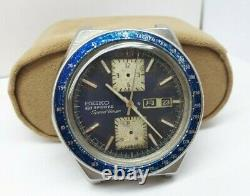 Vintage Seiko 6138 0030 Kakume Sport 5 Auto Chrono Watch Men For Repair Or Parts