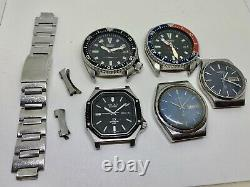 Vintage Seiko Diver Lot 5 Watches For Parts Repair