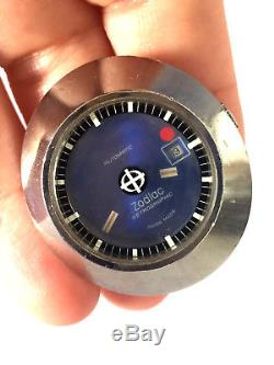Vintage Zodiac 34 Automatic Astrographic Womens Watch Blue Dial No Band As Found