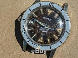Vintage Zodiac Sea Wolf Diver Watch withChocolate Brown Dial, Runs FOR PARTS/REPAIR