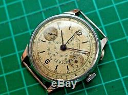 Vintage mens Berna Watch chronograph manual wind 38mm staybrite case for parts