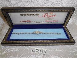 Vtg BENRUS Ladies Bracelet Watch 14K White Gold Diamonds 21 Jewels Not Working