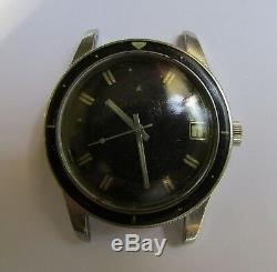 Zenith S58 Diver UNPOLISHED CASE BAKELITE BEZEL for parts or project Not Run